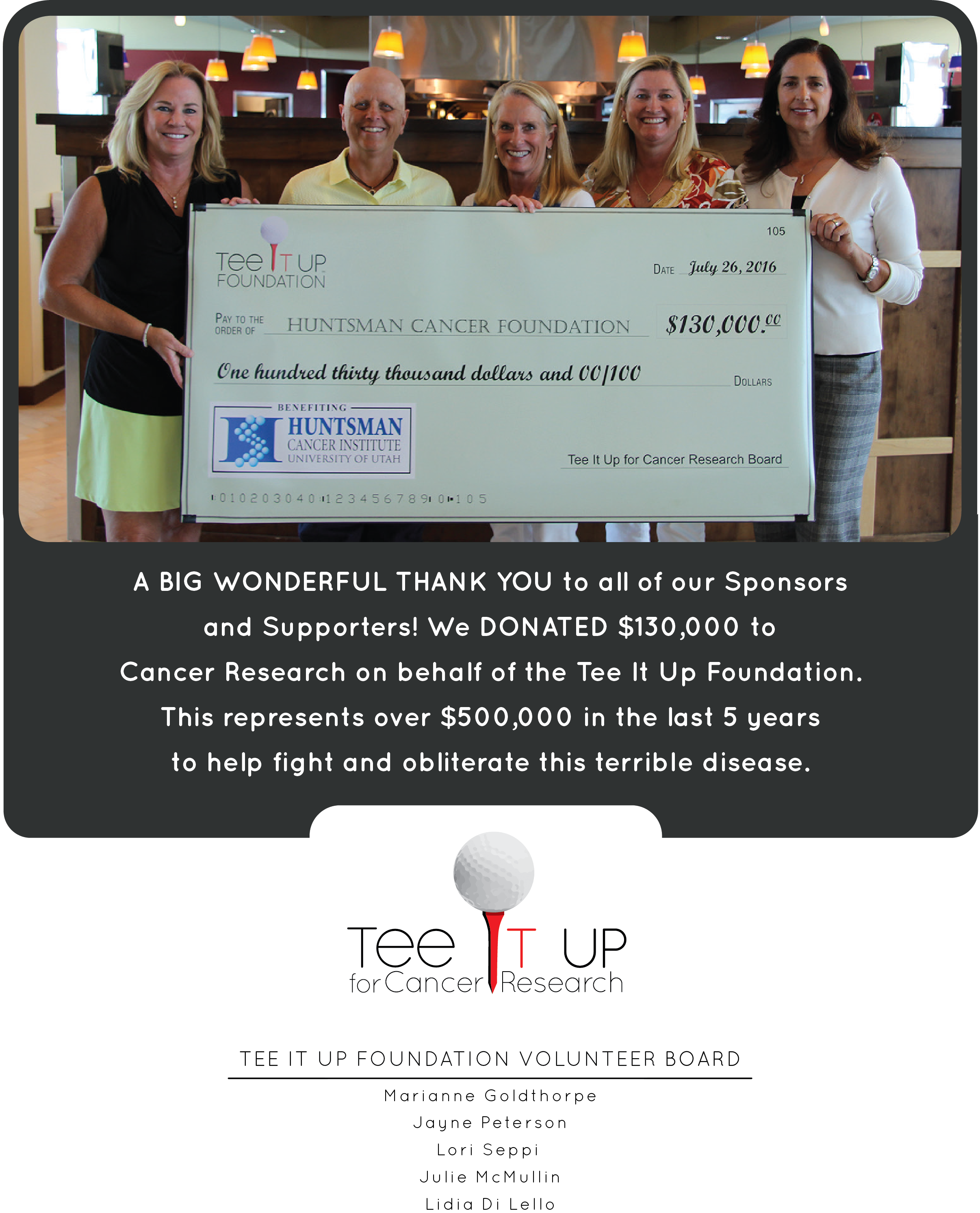 Teeitup foundation presents Huntsman Cancer Foundation a check for $130,000
